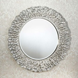 Contemporary Mirror - Flora Silver