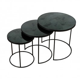 Notre Monde Charcoal Nest of 3 Tables