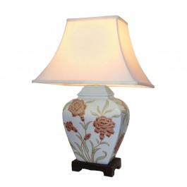Pair of Oriental Table Lamps - Duck Egg Peony