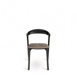 Ethnicraft Bok Dining Chair Black With Grey Upholstery