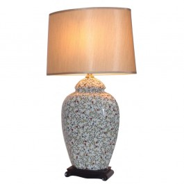 Pair of Oriental Table Lamps - White Leafy Jars