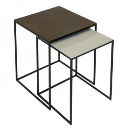 Conran Duo of Square Side Tables Pebble Fera