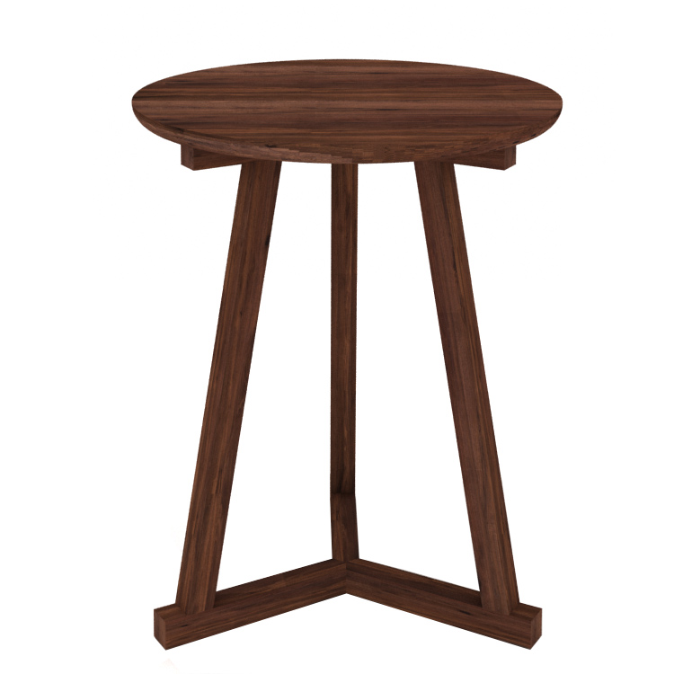 ... Ethnicraft Modern Walnut Tripod Side Table. Image 1