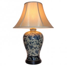 Pair of Oriental Table Lamps - Blue Floral