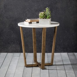 Cleo Round Side Table Marble Hudson Living