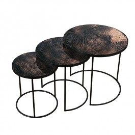 Notre Monde Set of 3 Nesting Tables Bronze