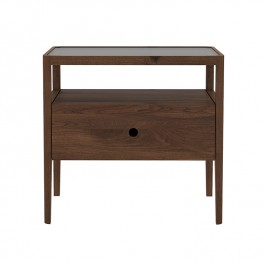 Ethnicraft Walnut Bedside Table Spindle