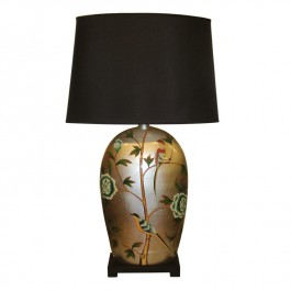 Pair of Oriental Table Lamp Flowers & Birds