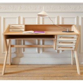 White Origami Oak Desk