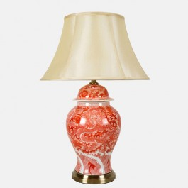 Pair of Oriental Large Table Lamps Red Dragon