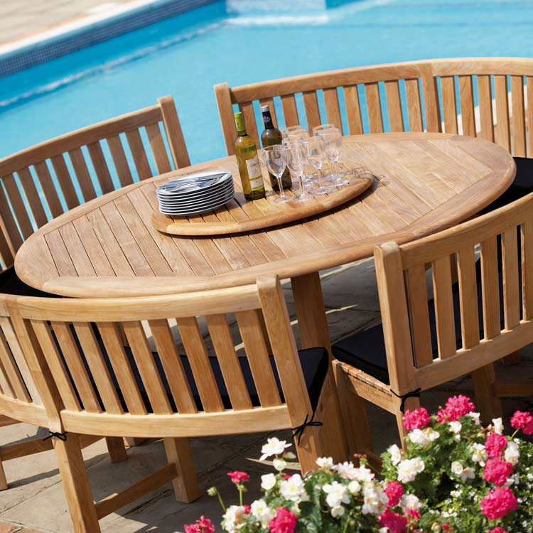 Buckingham teak garden dining table westminster garden furniture - Garden furniture table and chairs ...