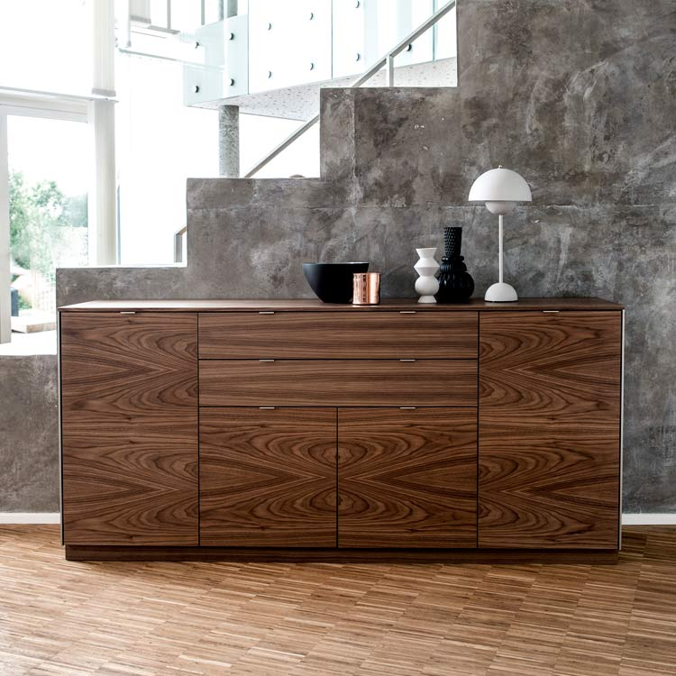 refined modern design from skovby walnut sideboard 942. Black Bedroom Furniture Sets. Home Design Ideas