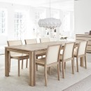 Skovby White Oiled Oak Dining Chair #90 (Cream leather seat pad, lifestyle)