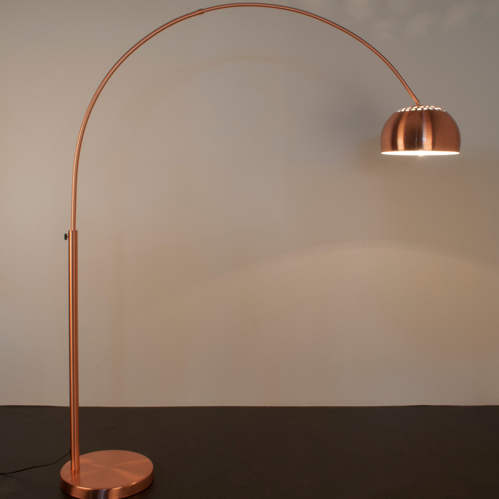 Arc floor lamps copper arc bow floor reader lamp 4 living for Arc floor lamp with copper shade