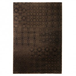 Dark Brown Print Rug - Hamptons