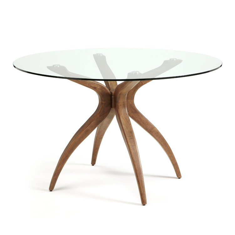 Serene Living Round Dining Table, Round Glass And Oak Dining Table