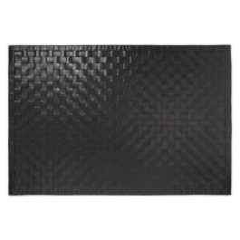 Woven Leather Rug - Sleek Black