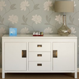 White Chinese Lacquer Sideboard Large
