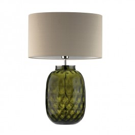Heathfield Olive Glass Table Lamp - Bubble