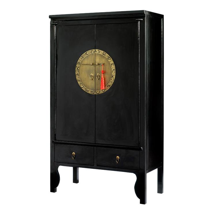 4 Living Black Lacquer Chinese Style Wardrobe Or Wedding