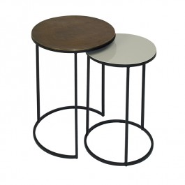 Conran Duo of Round Side Tables Pebble Fera