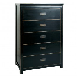 Black Lacquer Chinese Chest of 5