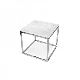 Prairie White Marble and Chrome Side Table