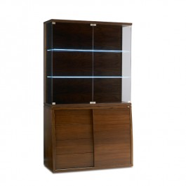 Skovby Glass & Walnut Display Cabinet #762-752