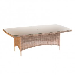 Woven Glass Top Table - Valencia Sand