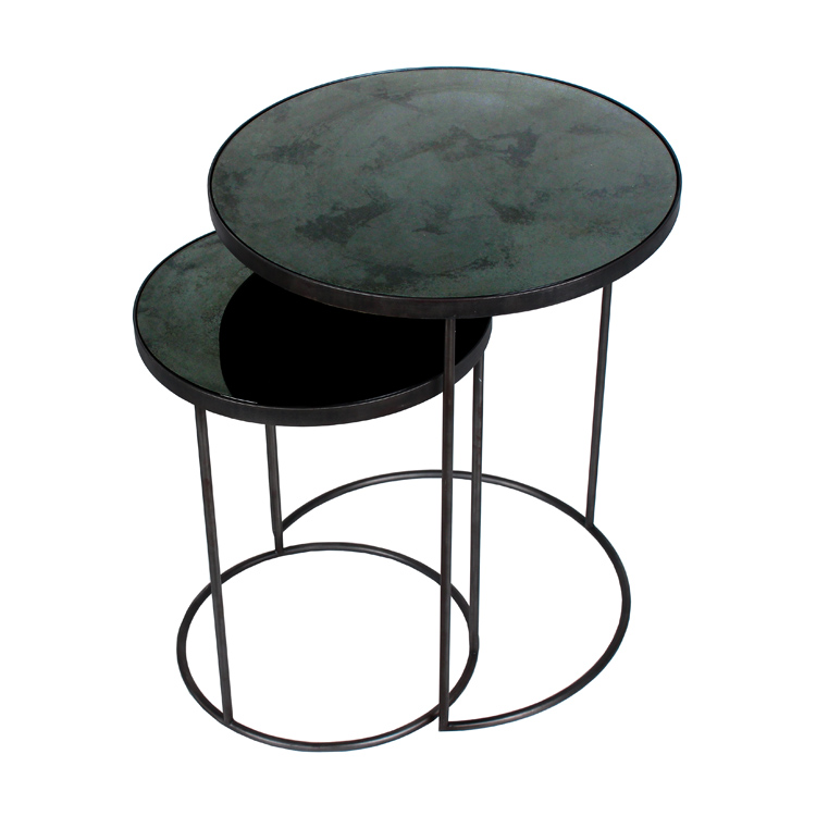 Notre monde round nesting side table charcoal ethnicraft for Beistelltisch 2er set rund