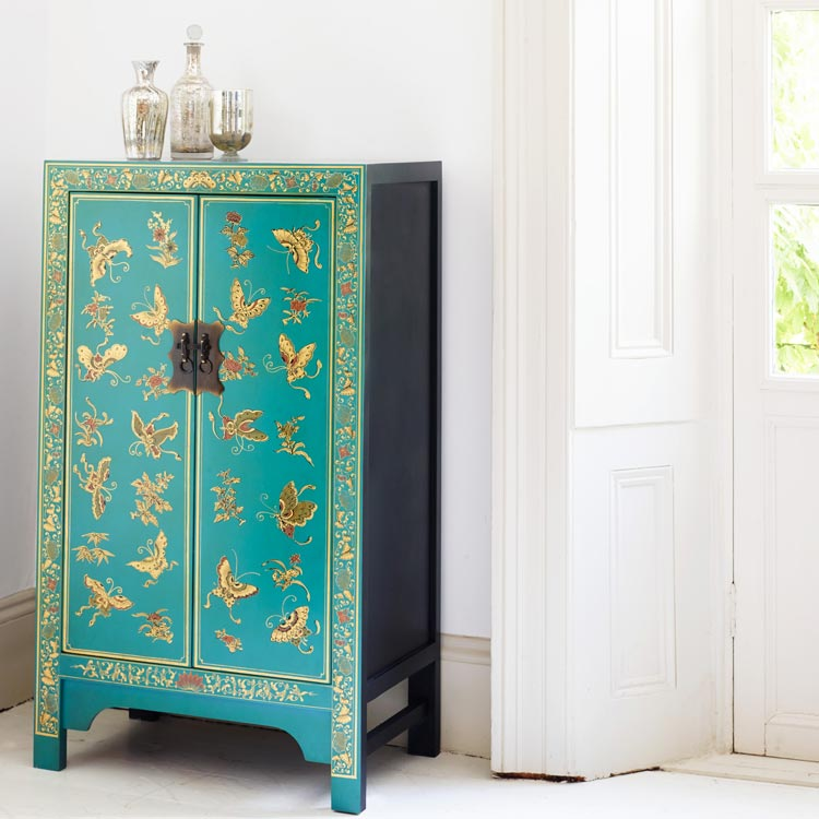 ... Chinese Butterfly Cabinet Blue. Image 1