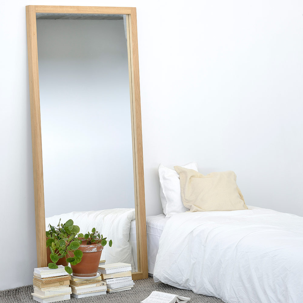 Contemporary Oak Furniture Ethnicraft Oak Light Frame Mirror 4  # Ethnicraft Meuble Tv