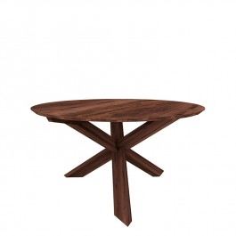 Ethnicraft Round Walnut Dining Table