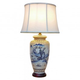 Pair of Oriental Table Lamps - Ancient Landscape
