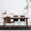 Solid Oiled Walnut back with Brown Leather seat pad (lifestyle - shown here with 'Skovby Dining Table - 38' in oiled Walnut)
