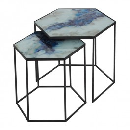 Notre Monde Blue Mist Organic Nesting Side Tables