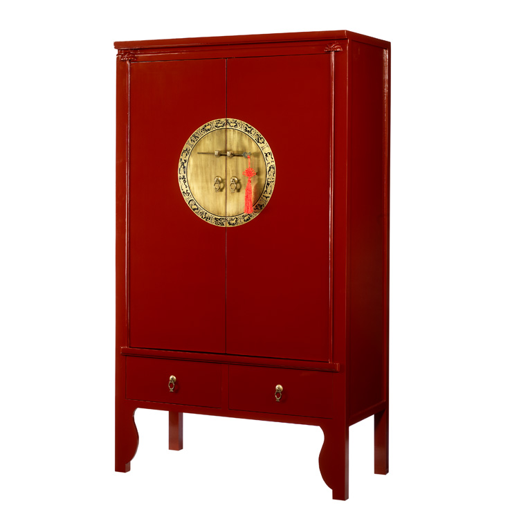 Red lacquer chinese style wardrobe wedding cabinet 4 for Red chinese furniture