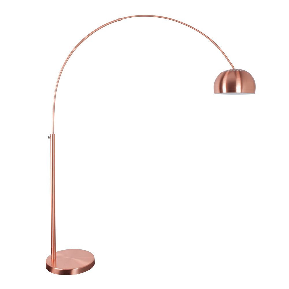 Arc floor lamps copper arc bow floor reader lamp buy for Arc floor lamp with copper shade