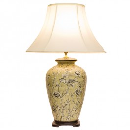 Pair of Oriental Table Lamps Birds & Flowers