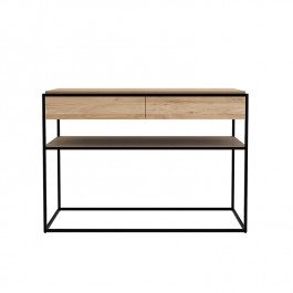 Ethnicraft Oak & Black Console Table Monolit