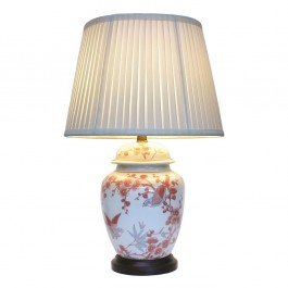 Pair of Oriental Table Lamps - Sparrow Blossom