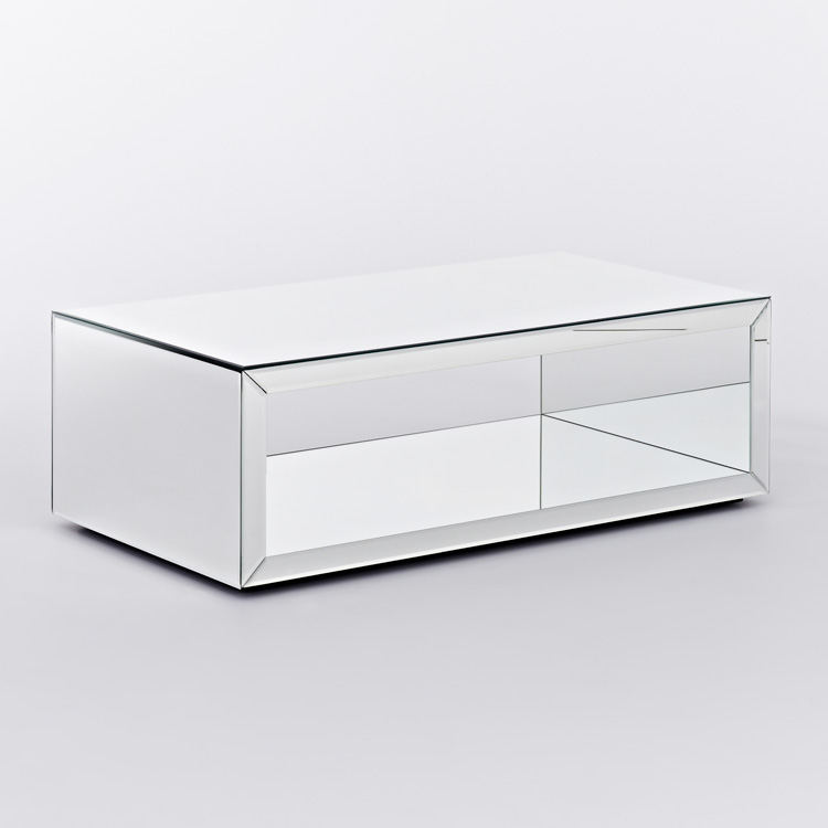 Deknudt Contemporary Mirrored Coffee Table Box T Mirrored Furniture