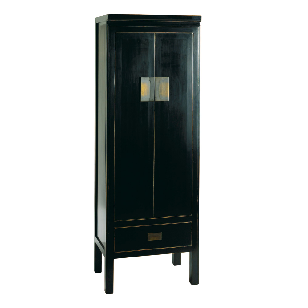 Black lacquer cabinets slim black storage cabinet by 4 for Oriental cabinet