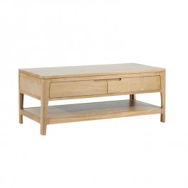 Ava Oak Coffee Table With Two Drawers