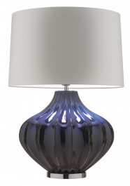 Heathfield Mallory Table Lamp - Blue Stone Reactive & Chrome