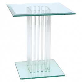 Square Glass Side Table - Stems