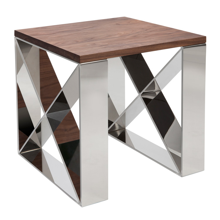 Contemporary style at 4living mirage walnut steel lamp table walnut steel side table mirage image 1 aloadofball Gallery