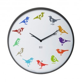 Modern Bird Song Wall Clock - Coloured