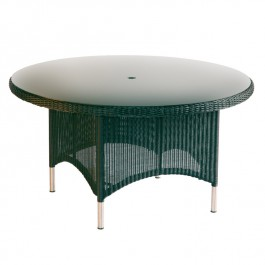 Woven Glass Top Round Table - Valencia Ebony