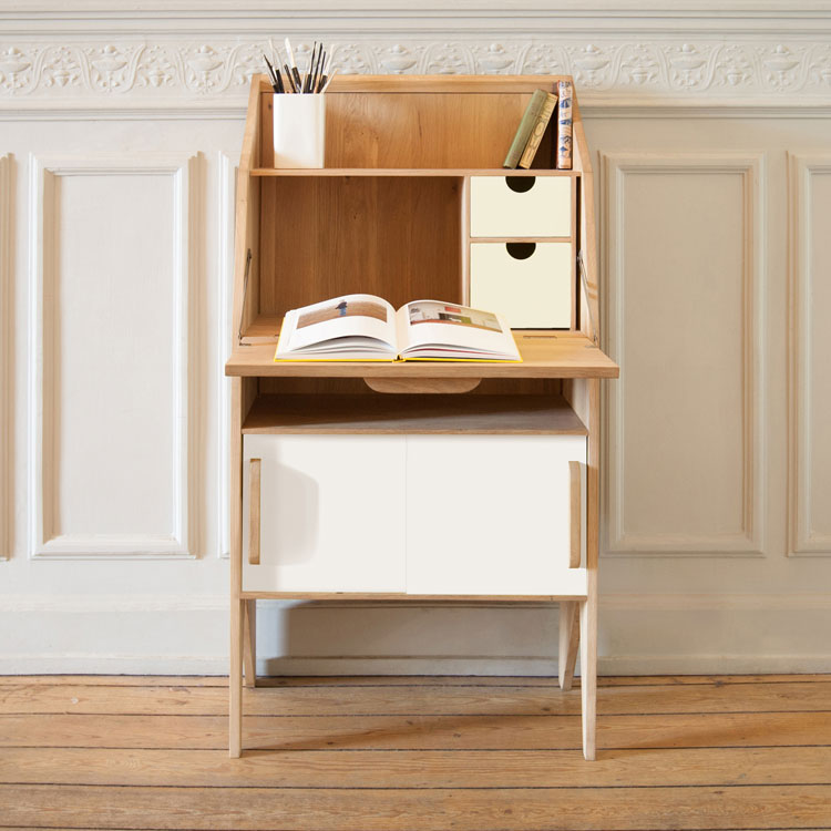 Innovative retro design at 4living mr marius origami oak bureau - Bureau design vintage ...